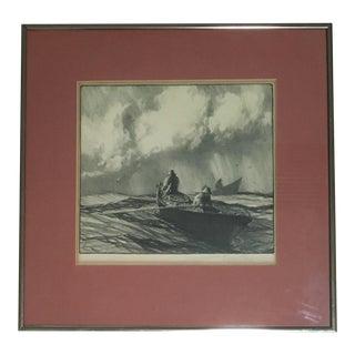 "Gordon Grant Framed Signed ""Men of Gloucester"" Lithograph For Sale"