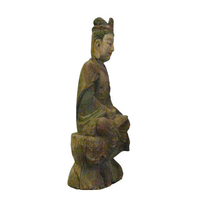 Asian Chinese Rustic Distressed Wood Kwan Yin Statue For Sale - Image 3 of 6