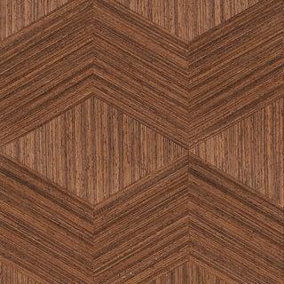 Sample - Schumacher Chevron Inlay Wallpaper in Walnut For Sale