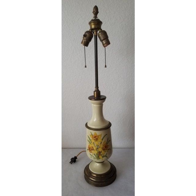 Antique Bouillotte Porcelain & Brass Table Lamp For Sale - Image 9 of 10