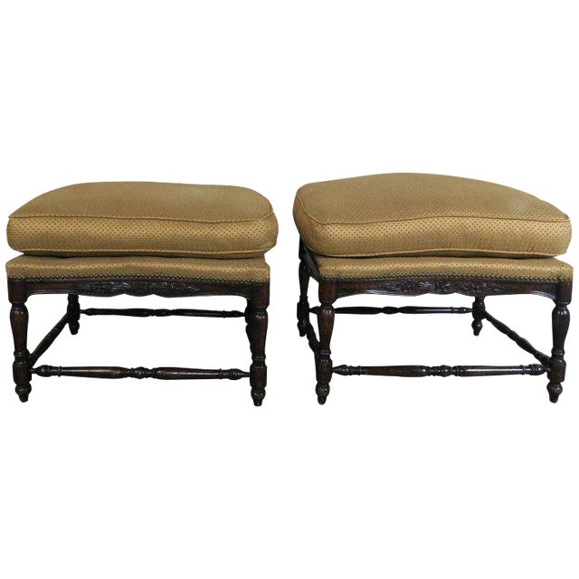 French Louis XV Style Walnut Benches With Loose Cushions Circa 1900s, Pair For Sale