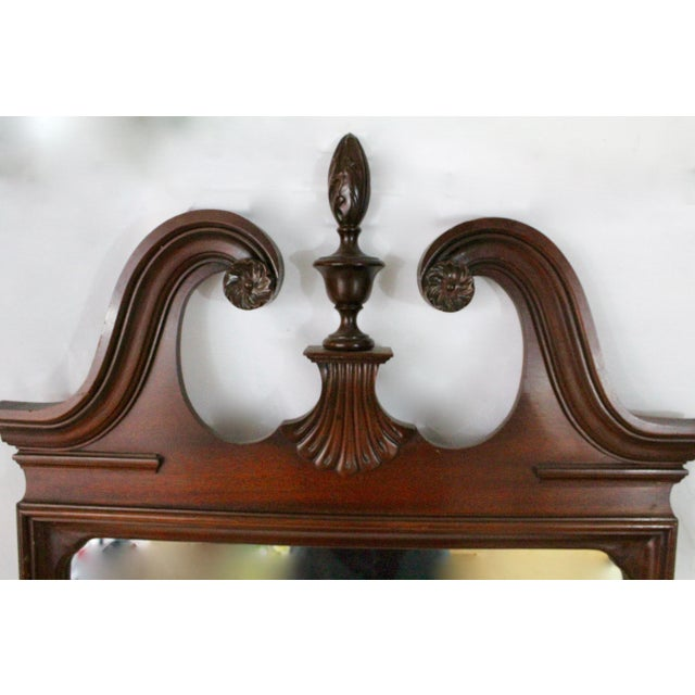 1920's Antique Scroll Top Shell & Acorn Finial Mirror For Sale - Image 9 of 10