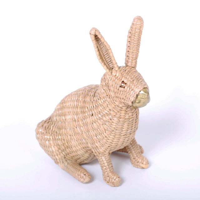 Mid-Century Modern Mario Torres Wicker Bunny For Sale - Image 3 of 7