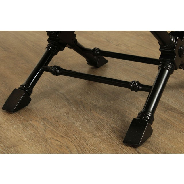 Regency Style Black Lacquered Pair X Benches For Sale - Image 12 of 13