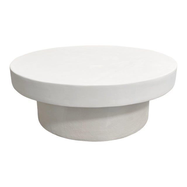 The Georgia Mixed Plaster Round Mid-Century Coffee Table For Sale