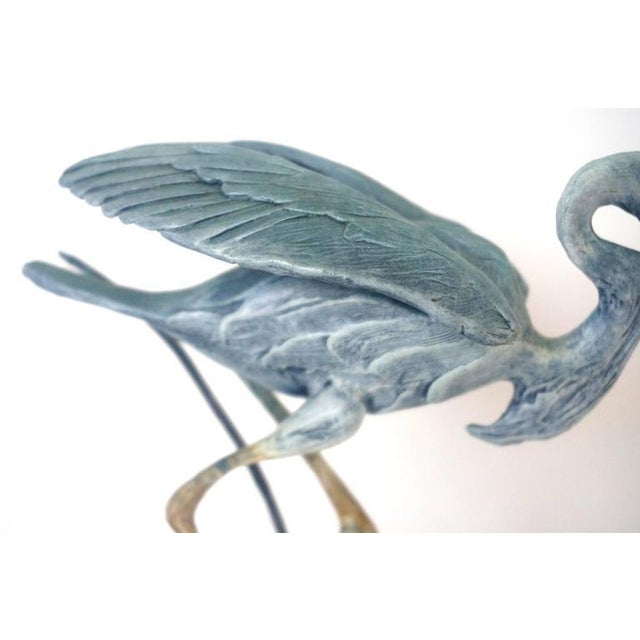 Set of Two Patinated Bronzes by Geoffry C. Smith of a Sandhill Crane & Heron - Image 10 of 10