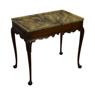 Kittinger Colonial Williamsburg Mahogany Queen Anne Tea Table With Frame Painted Top For Sale