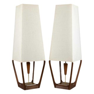 Danish Modern Walnut and Brass Floor Lamps - Pair For Sale