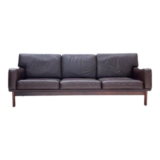 1960s Vintage Danish Brown Leather Sofa For Sale