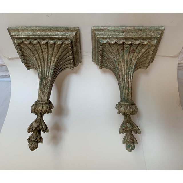 Mid 20th Century 1950s Vintage Italian Carved and Painted Wood Corbel Brackets - a Pair For Sale - Image 5 of 12