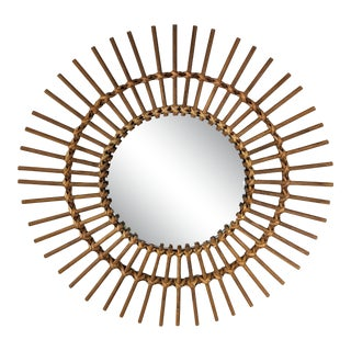 Boho Chic Rattan and Wooden Starburst Mirror For Sale