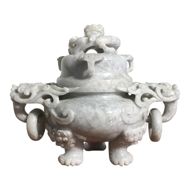 Chinese Gray Nephrite Jade Censer, mid 20th century For Sale