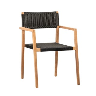 Outdoor Woven Rattan Teak Chair For Sale