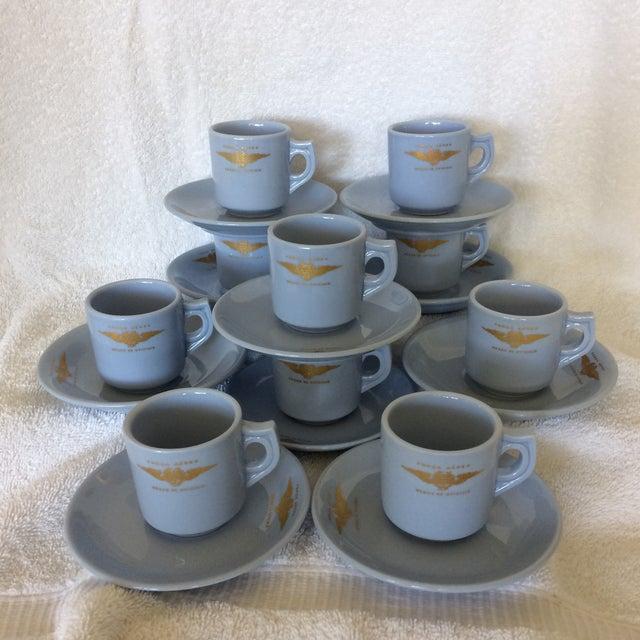 "Very Rare Vintage Set of Vista Alegre Impact Baby Blue Portuguese ""Forca Aerea Messe De Oficiais"" Demitasse Cups & Saucers -Set of 10 For Sale - Image 13 of 13"