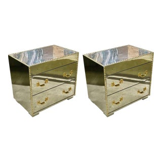 Midcentury Chrome and Brass Studded Chests - a Pair