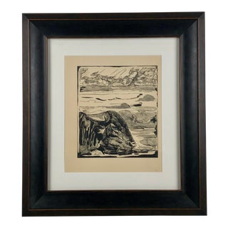 Antique Paul Jouve Water Buffalo Gravure Framed Print For Sale