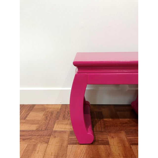 Ming Style Pink Chow Leg Side Tables/Low Stools - a Pair For Sale In Seattle - Image 6 of 8