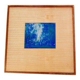1970s Vintage Blue Pastel Landscape Framed Painting For Sale