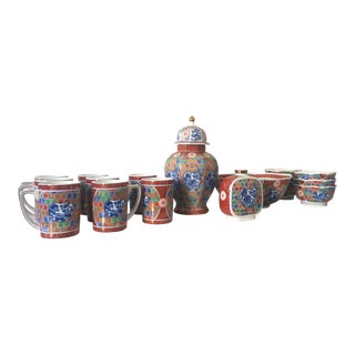 Vintage Imari Japanese Kozan Gama China Set - 17 Pc. For Sale