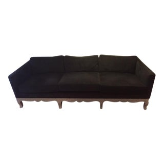 Restored Custom Black Velvet Sofa