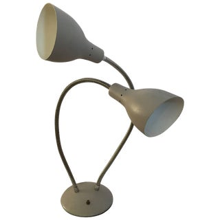 Double Goose Neck Table Lamp in the Manner of Kurt Versen For Sale