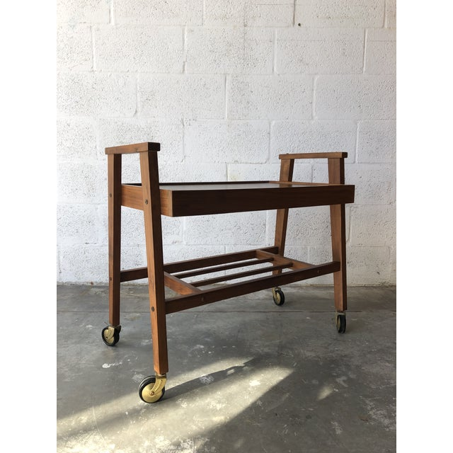 Vintage Mid Century Modern Danish Style Rolling Media Cart For Sale - Image 11 of 13
