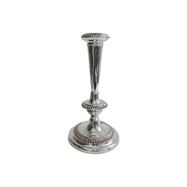 English Silver-Plated Candleholders - Pair - Image 3 of 3