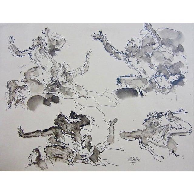 Serge Ivanhoff Figural Studies, 1949 Ink Drawing - Image 1 of 6