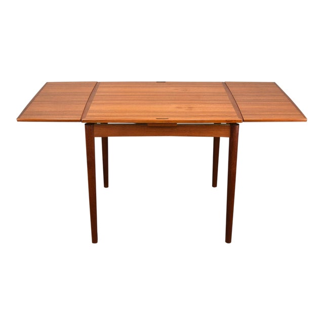 Carlo Jensen Expanding Small Danish Teak Dining Table or Game Table For Sale
