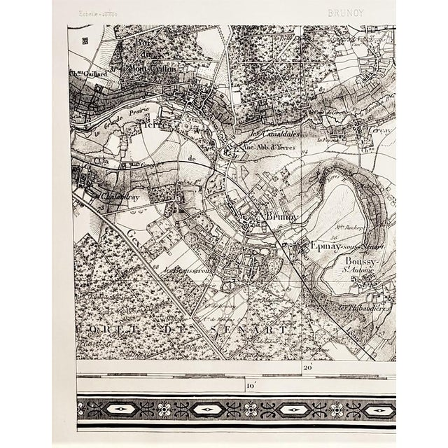 This is an antique map of Brundy, Ile de France, France. Today this is suburban area to the capital city of Paris. The map...