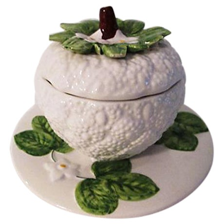 Italian Floral & Fruit Jam Jar For Sale