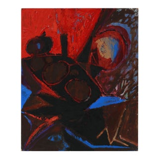 Bold Red & Black Abstract 1950s Acrylic For Sale
