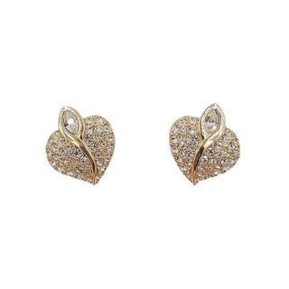 1990s Swarovski Rhinestone Heart Earrings For Sale