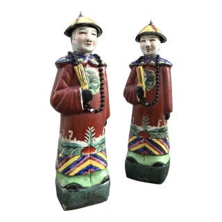 20th Century Antique Chinese Chinoiserie Figurines - a Pair