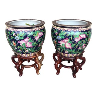 Chinese Porcelain Fish Bowl Planters - A Pair