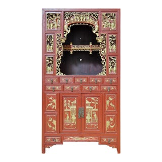 Antique Chinese Red Shrine Cabinet