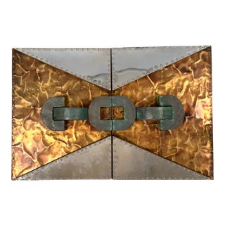 1970s 'Untitled' Wall Mounted Sculpture in Copper and Brass For Sale