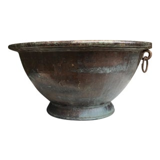 Large Handmade Copper Pedestal Bowl For Sale