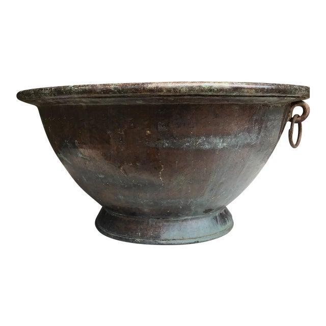 Large Handmade Copper Pedestal Bowl For Sale