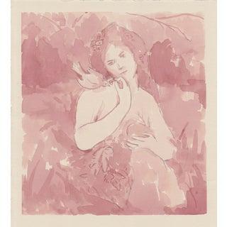 """My Pet Bird"" Woman With Bird Original Ink Painting For Sale"