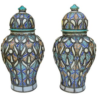Moorish Vases W/ Fine Motif & Inlay- S/2 For Sale