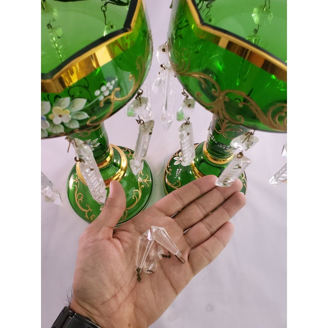 Vintage Green Glass Painted Luster Candle Holders With Prisms - a Pair For Sale - Image 10 of 11