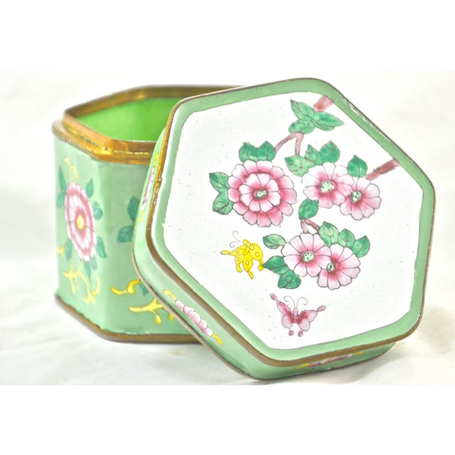Blue Green Hexagonal Chinese Enamel Box For Sale - Image 8 of 8