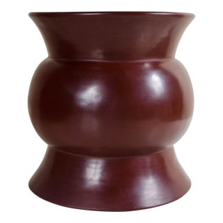 Zun Drumstool - Red Bean Lacquer For Sale