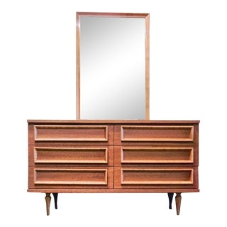 Johnson Carper Mid Century Lowboy & Mirror For Sale