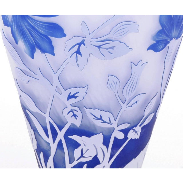 1980s Shannon Crystal of Ireland Mouth Blown Blue Cut Art Glass Vase For Sale - Image 5 of 8
