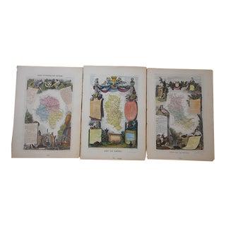 Authentic Antique 19th C. Maps-Provinces of France-Engravings-Set of 3 For Sale