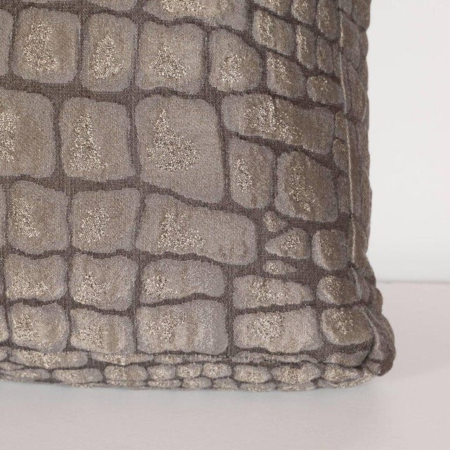 2000s Pair of Gauffraged Crocodile Fabric Pillows in Metallic Antique Bronze Hue For Sale - Image 5 of 8