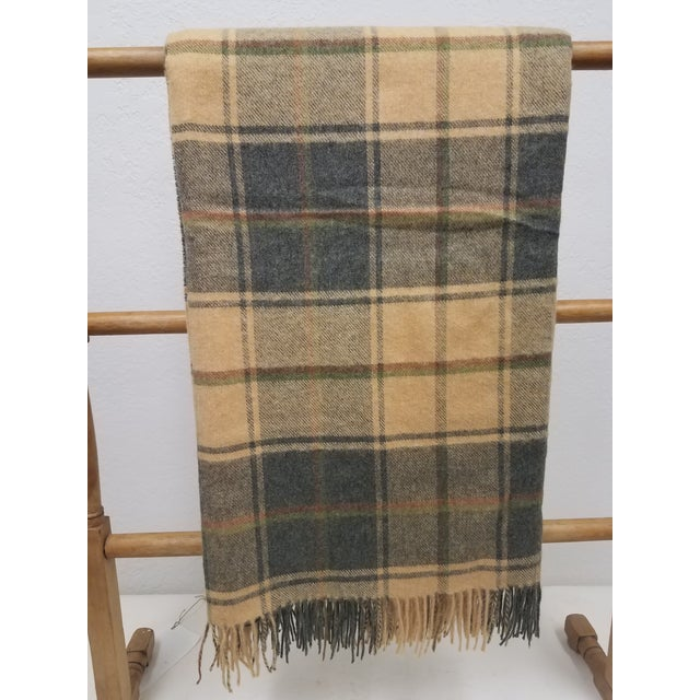 Merino Wool Throw Light Soft Beige Grey Green Red Plaid - Made in England For Sale - Image 13 of 13