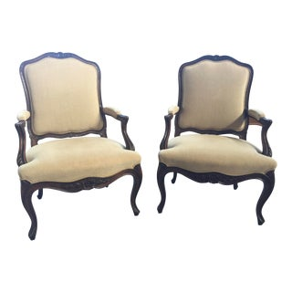 French Bergere a Pair Linen Upholstery For Sale